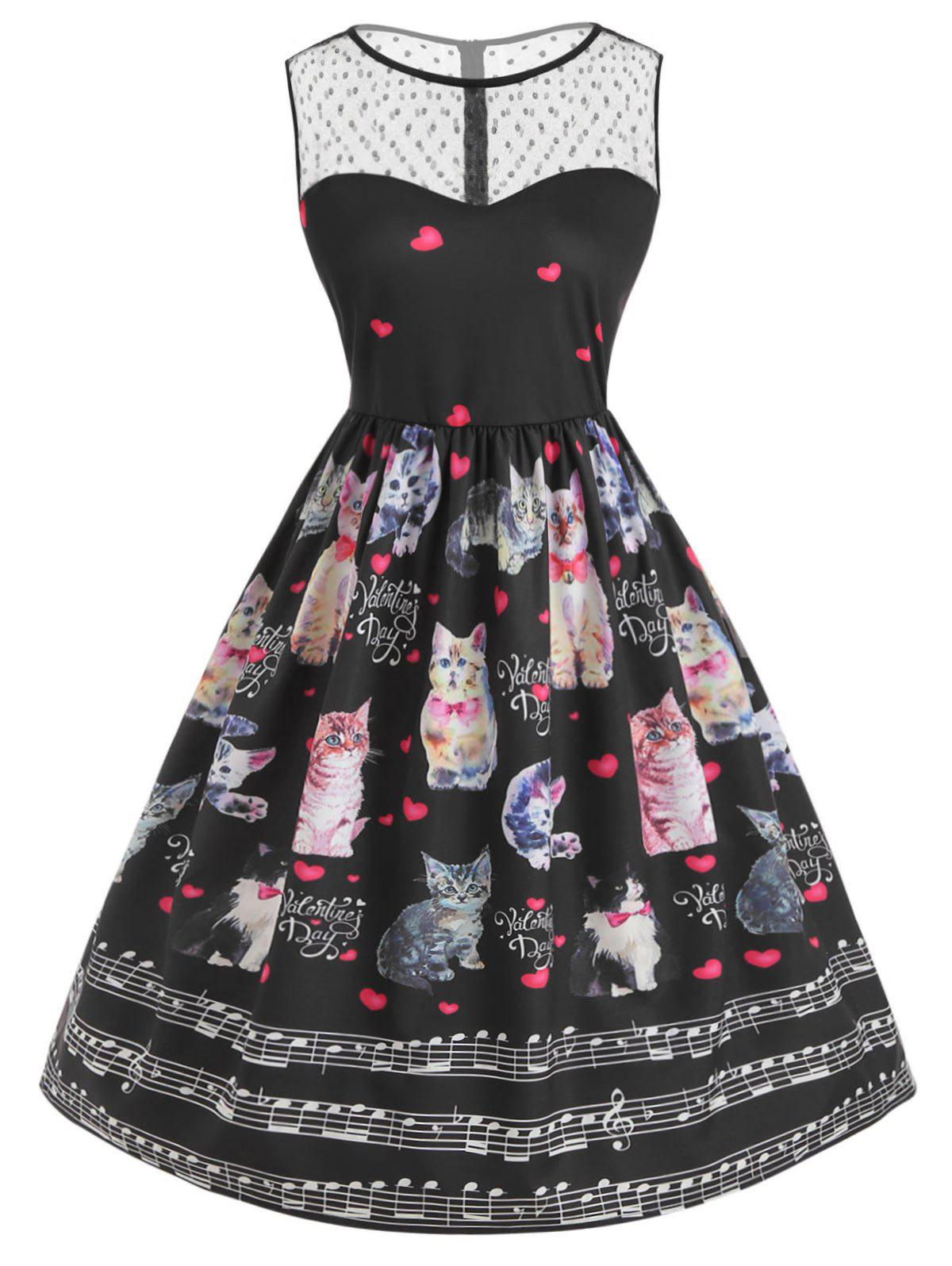 Store Mesh Panel Cat Print Valentine Flare Dress
