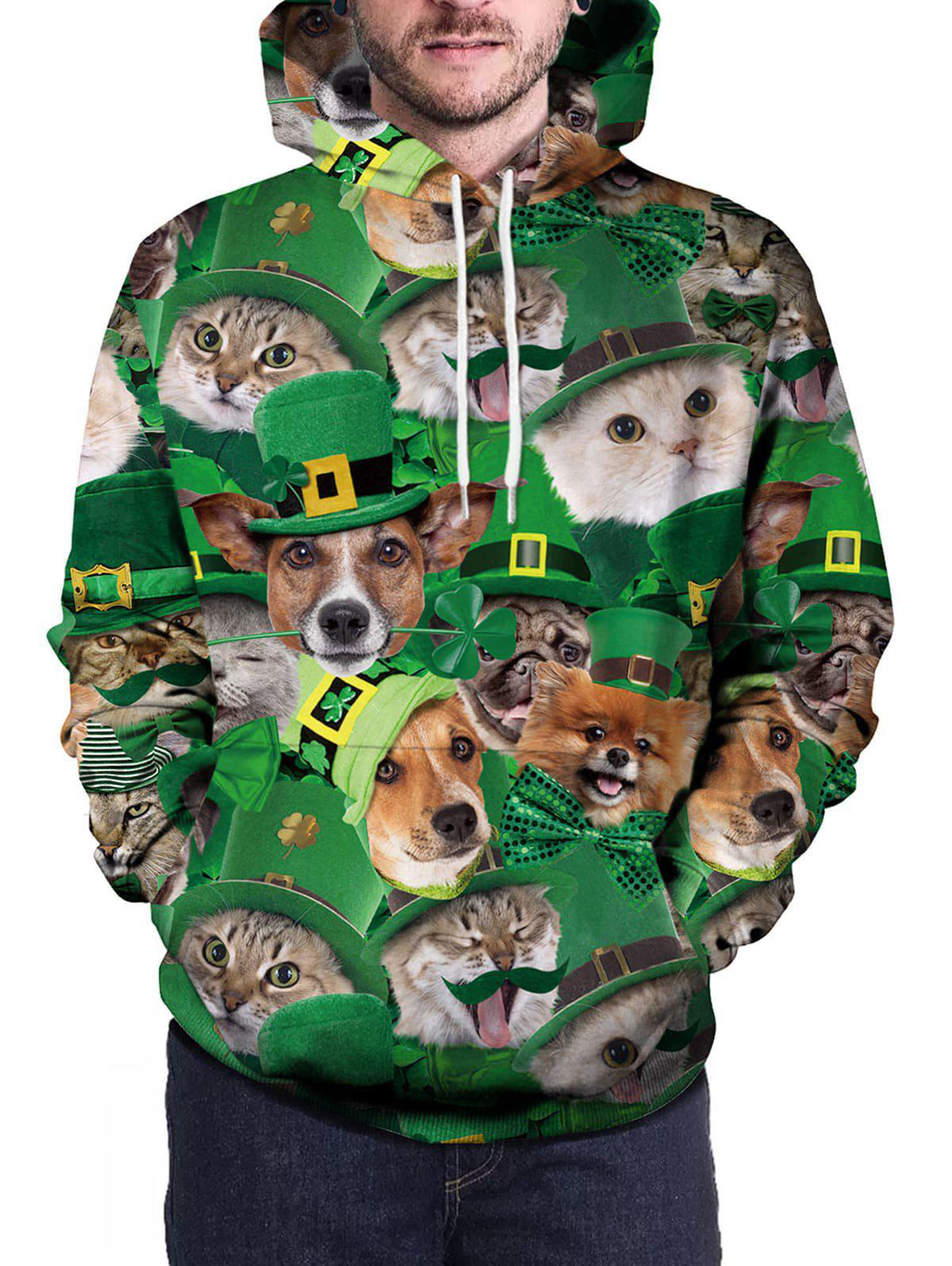 Shops Pullover 3D Cat And Dog Print Hoodie