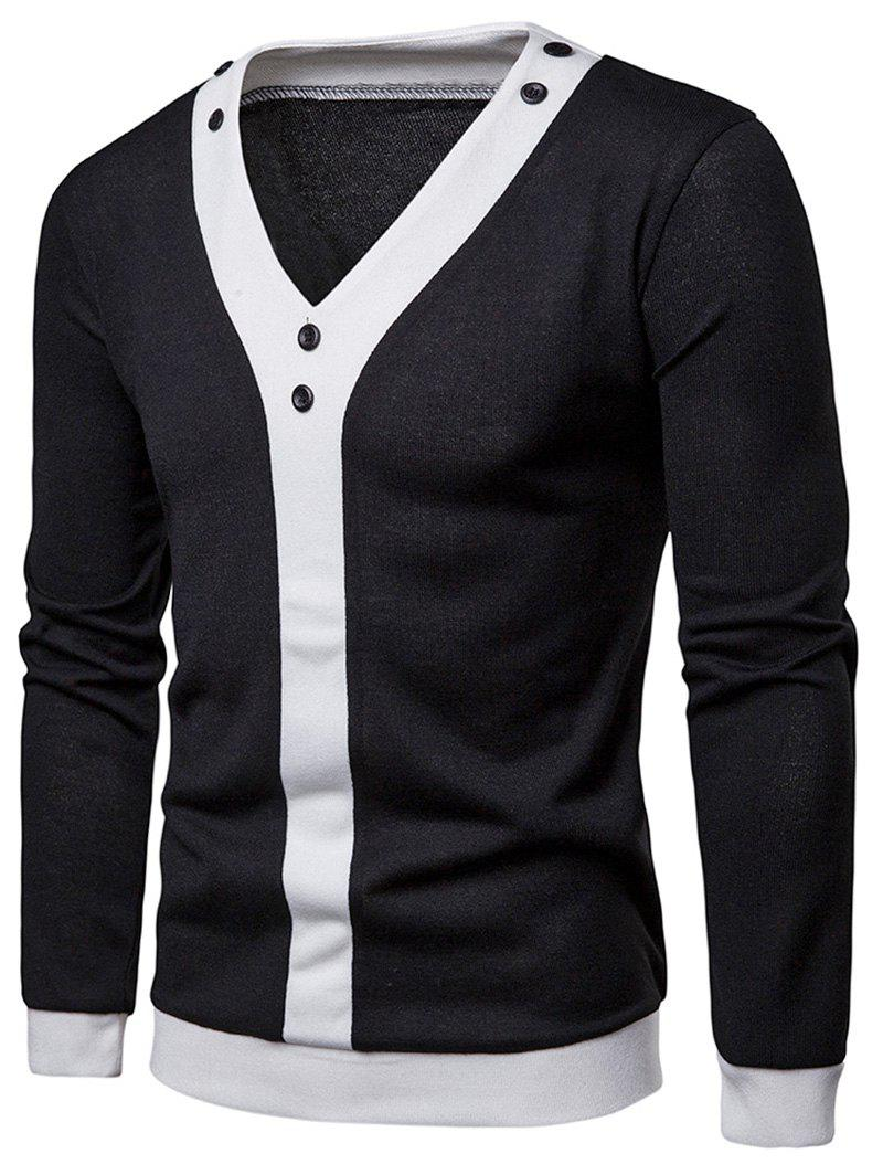 Trendy Contrast Placket Patchwork Button Embellished Pullover Thin Sweater