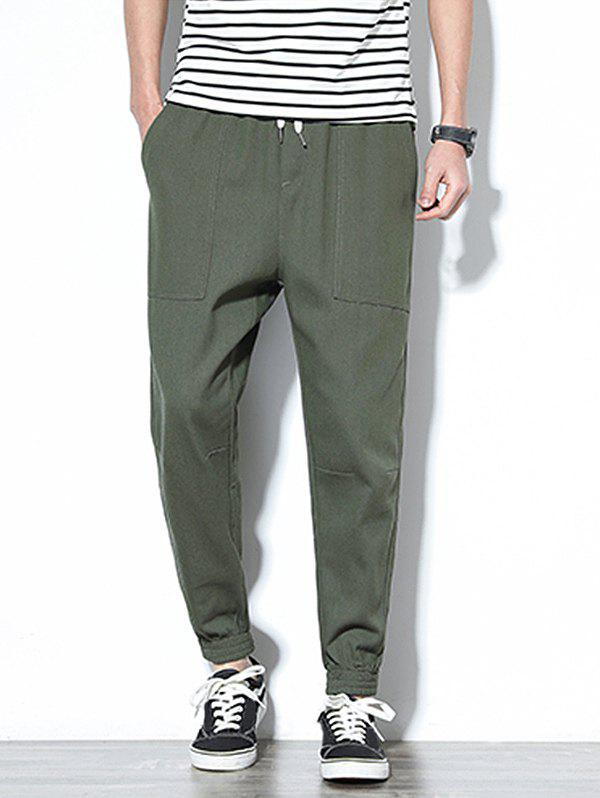 Affordable Patch Pockets Drawstring Joggers Pants