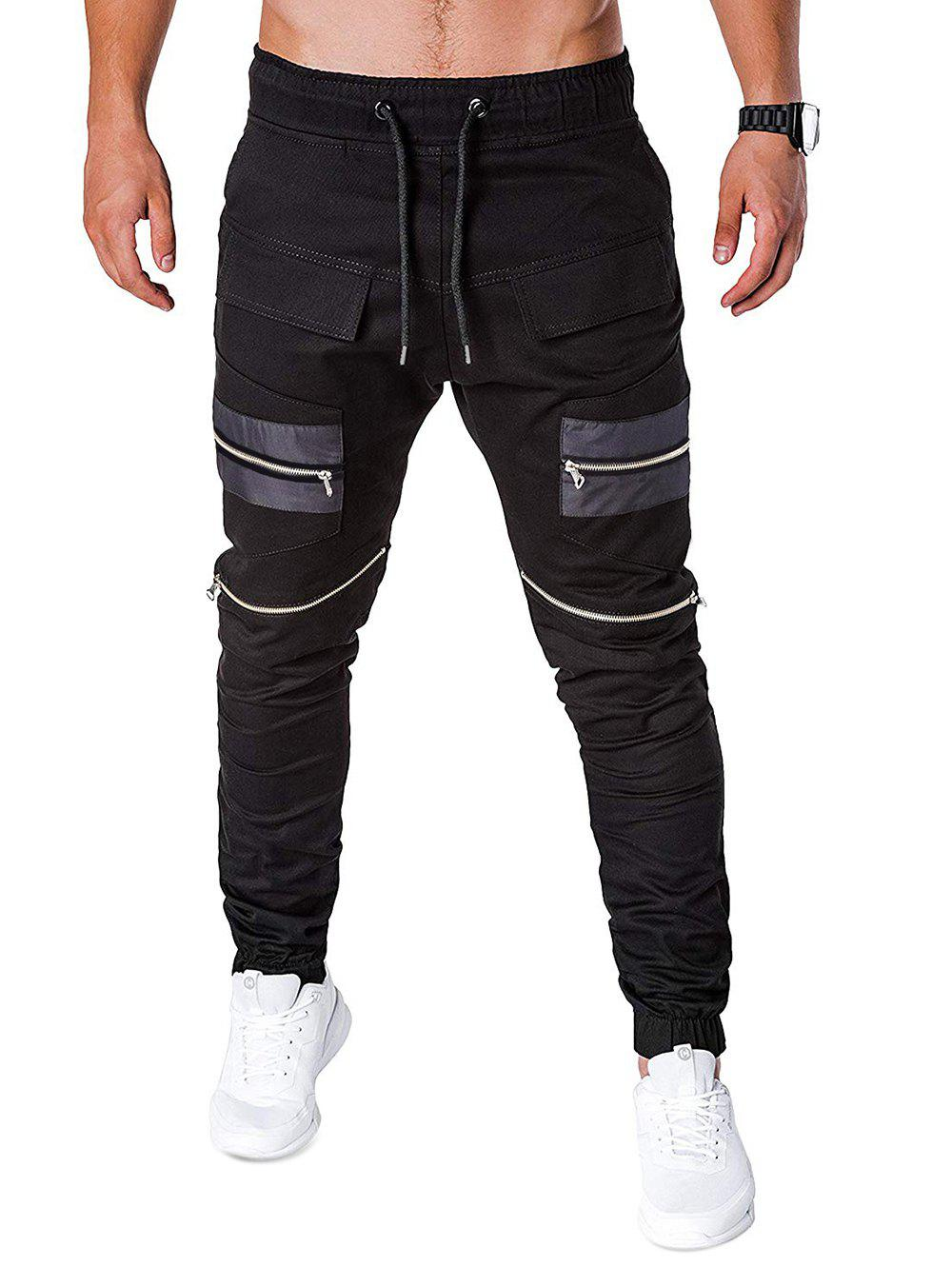 Latest Zippers Patchworks Drawstring Jogger Pants