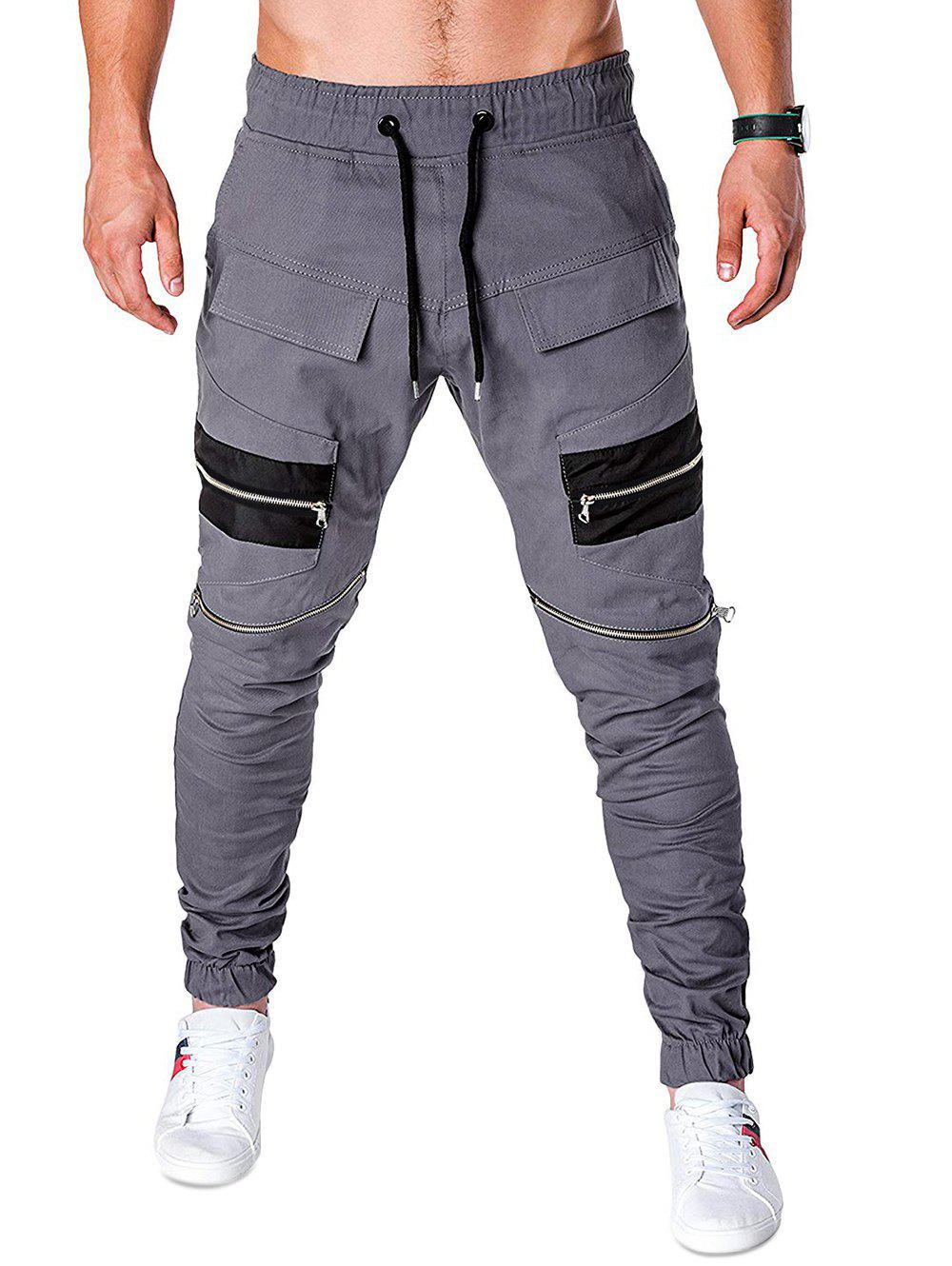 Zippers Patchworks Drawstring Jogger Pants