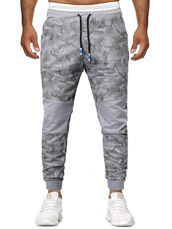 Cheap Camouflage Print Patchworks Drawstring Jogger Pants