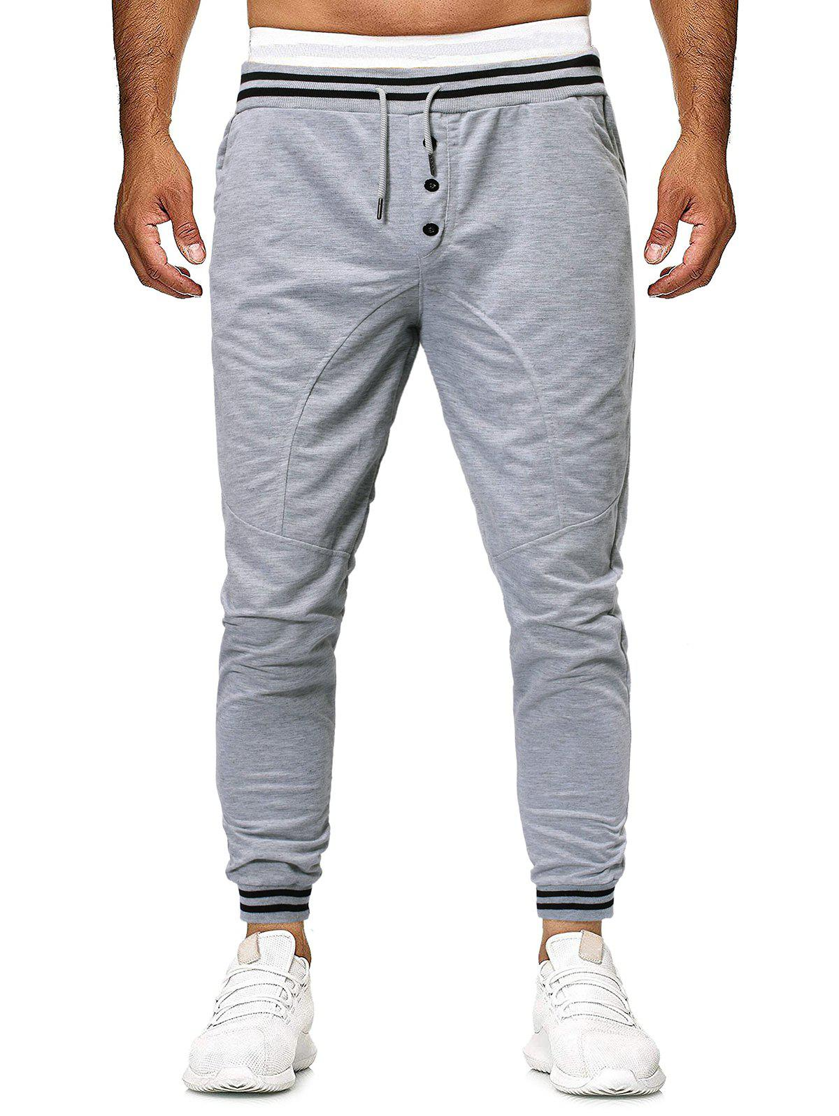 Online Striped Buttons Casual Drawstring Jogger Pants