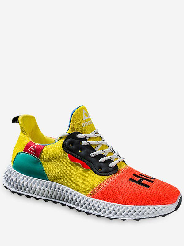 Hot Color Block Embroidery Running Sneakers