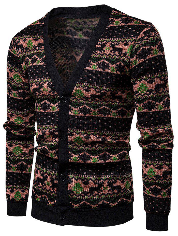 Chic Ethnic Style Pattern Front Button Cardigan