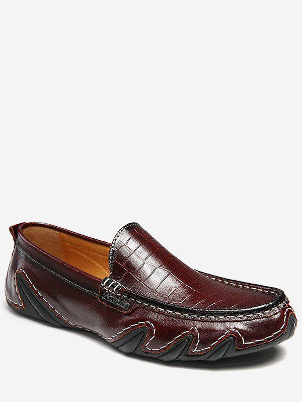 Outfit Wave Sewing Faux Leather Slip On Shoes