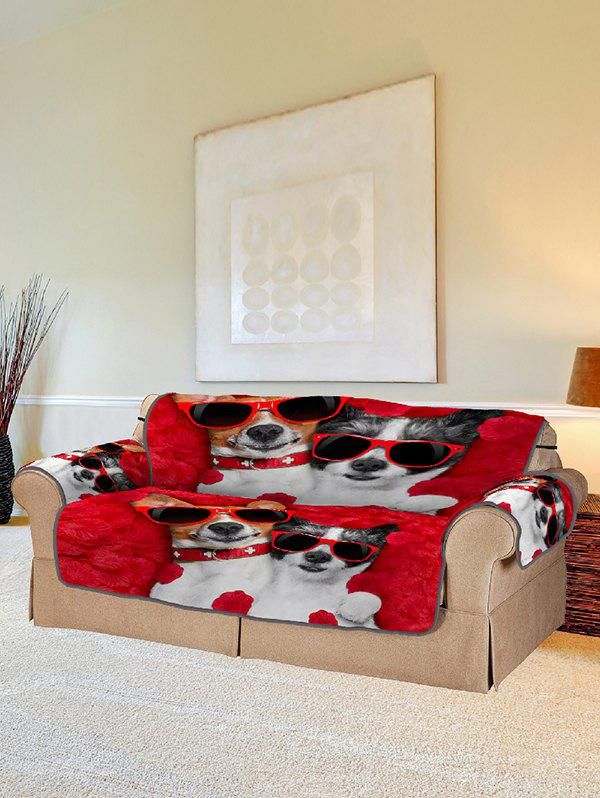 Store Glasses Dog Pattern Couch Cover