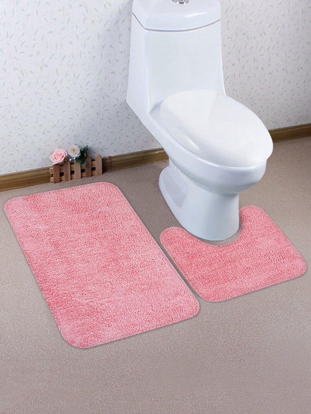 Outfit Solid Color Antiskid Toilet Mat Set