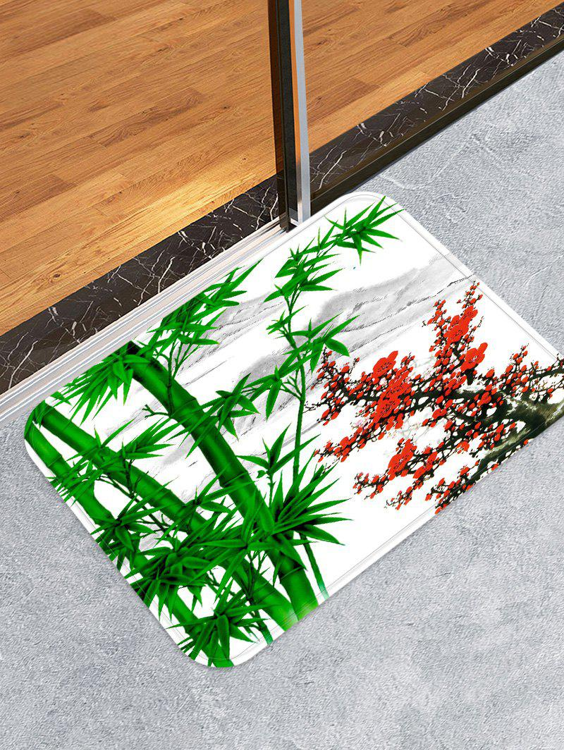 Trendy Bamboo and Flowers Pattern Water Absorption Area Rug