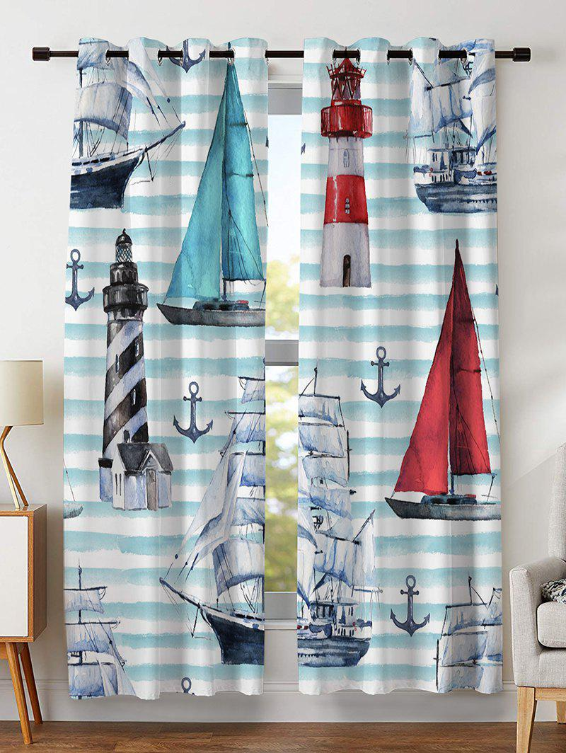 Store Striped Sailing Print Window Curtains