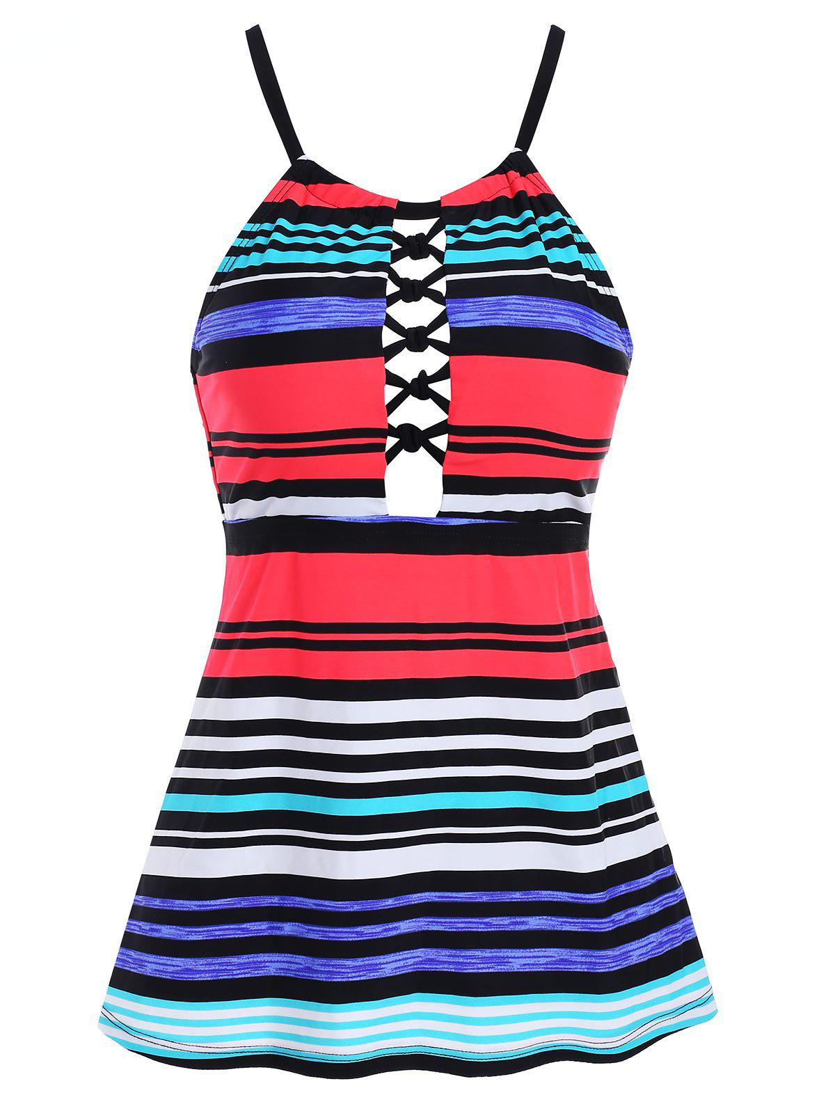 Outfits Hollow Out Striped Swim Top
