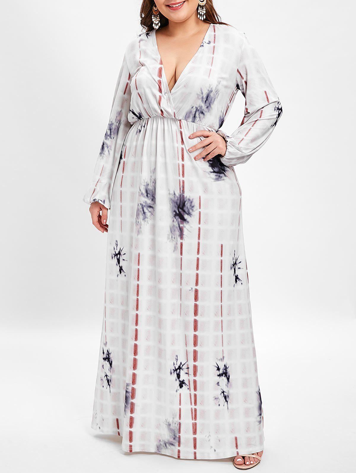 Sale Plunging Neck Plus Size Printed Maxi Dress