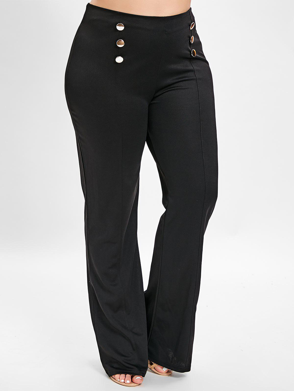 Outfit Button Plus Size Straight Pants