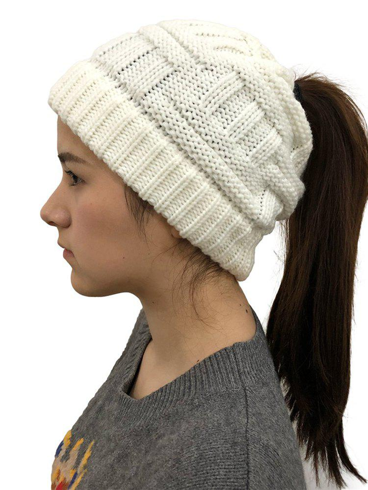 2ab695645 Winter Ponytail Hole Warm-keeping Knitted Hat