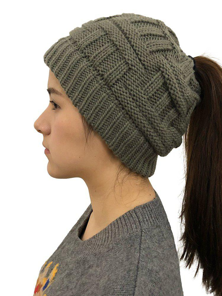 5ac1ae2c87bfd 43% OFF  Winter Ponytail Hole Warm-keeping Knitted Hat