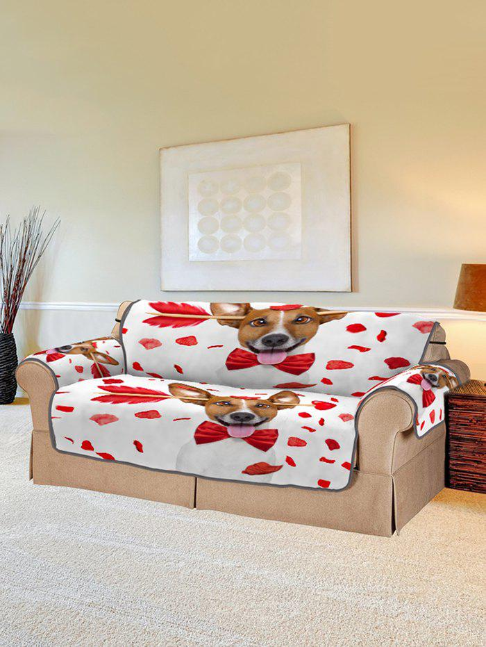 Trendy Valentines Day Dog Pattern Couch Cover