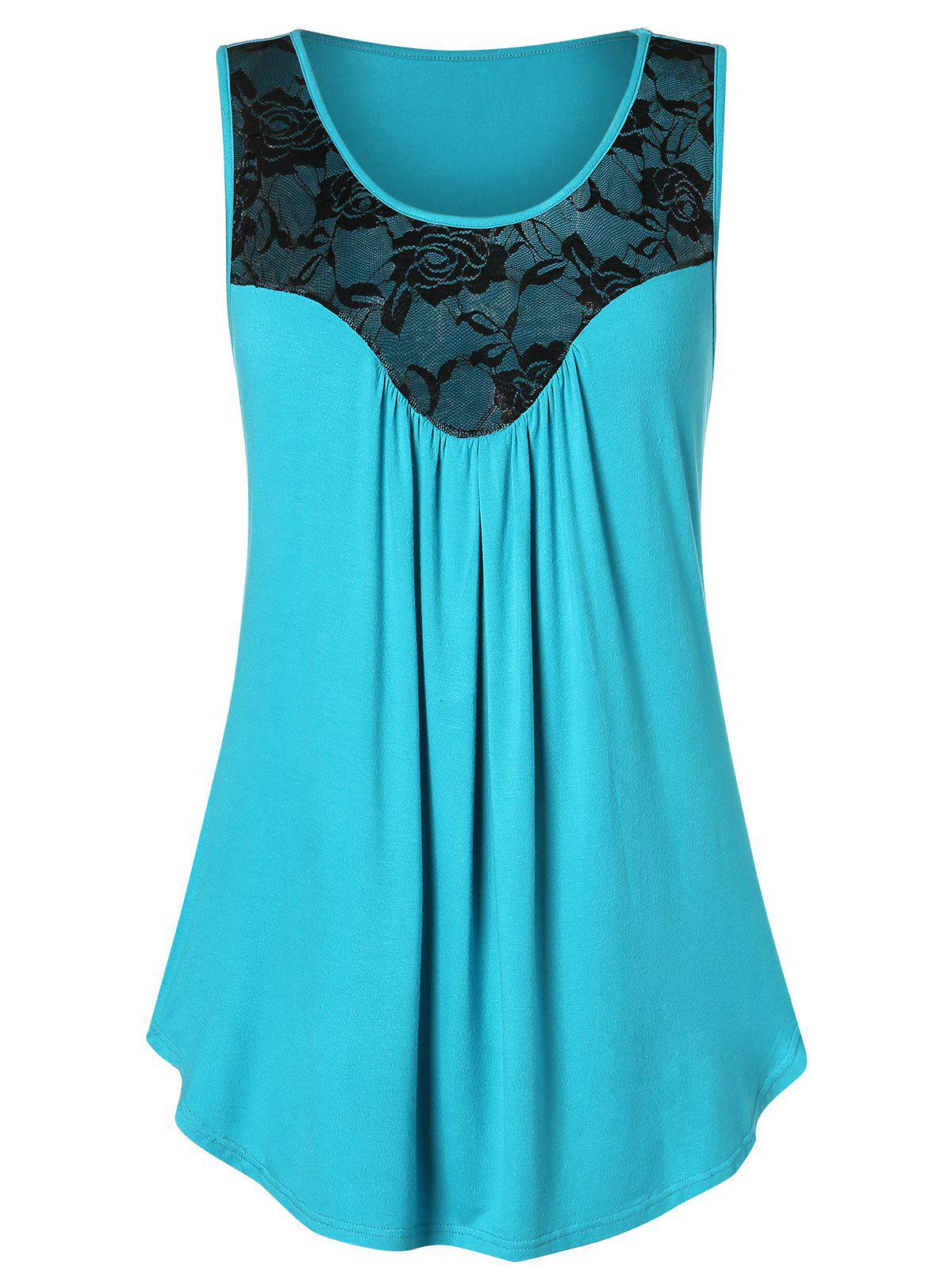 New Plus Size Lace Panel Flare Tank Top
