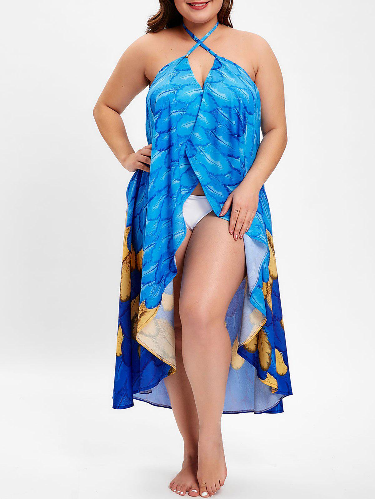 Store Plus Size Feather Print Halter Neck Cover Up