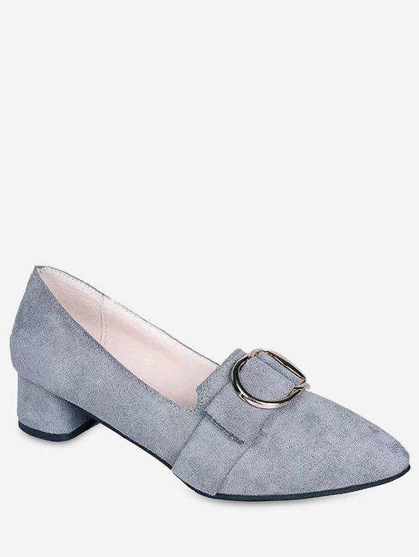 Hot Buckle Pointed Toe Chunky Heel Shoes