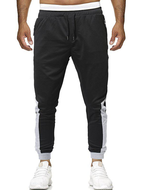 Cheap Elastic Drawstring Contrast Color Jogger Pants