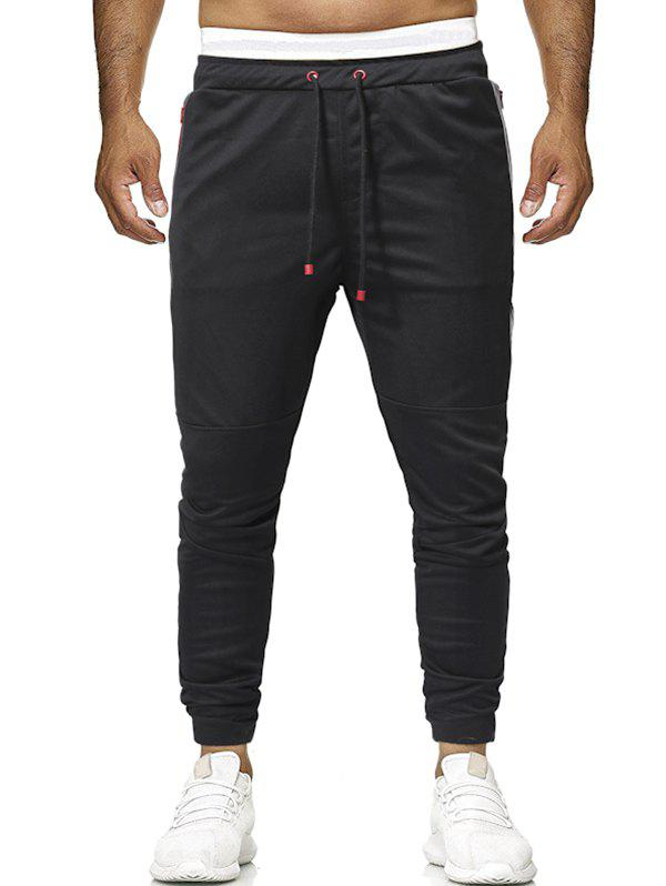 Outfit Zipper Pockets Panel Drawstring Jogger Pants