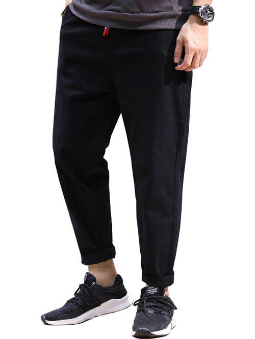 Buy Drawstring Patched High Waisted Joggers Pants