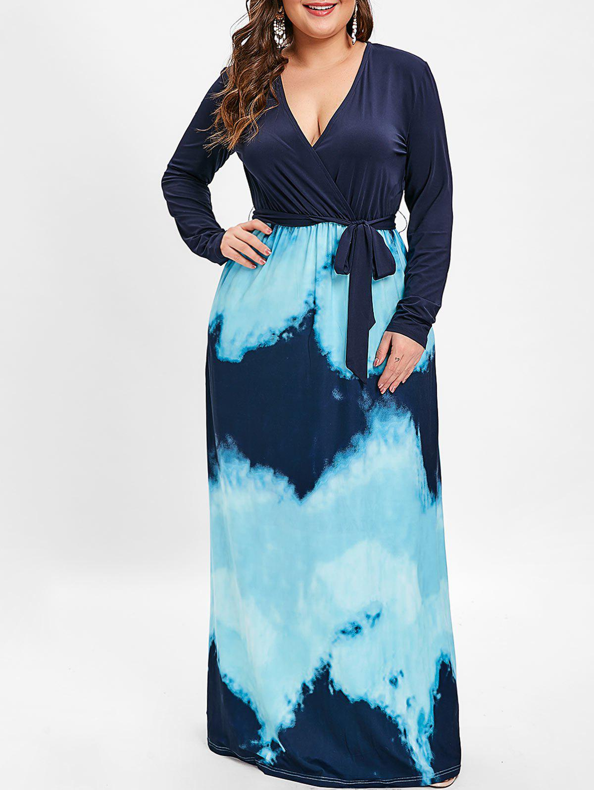 Discount Plunging Neck Plus Size Tie Dye Maxi Dress with Belt