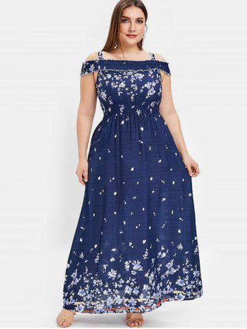 Cold Shoulder Plus Size Long Floral Dress