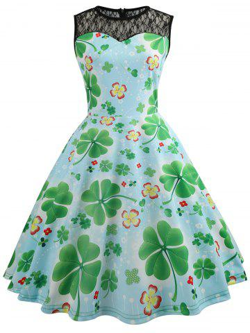 Lace Panel Leaves Print Flare Dress