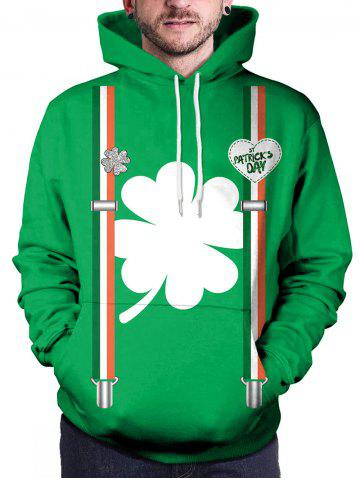 Pullover Clover Print Pocket Hoodie