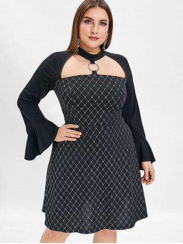 Flare Sleeve Plus Size Glitter A Line Dress