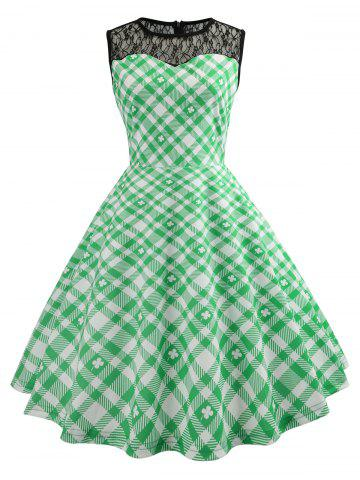 Lace Panel High Waist Checked Dress