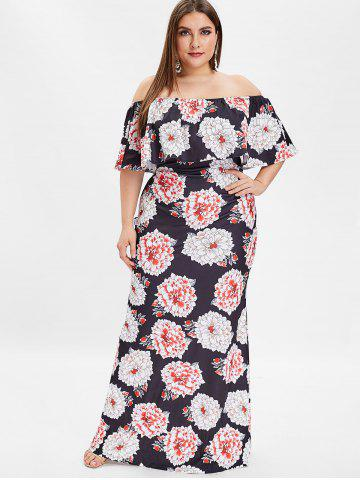 5d6a23e46a3bf Plus Size Off The Shoulder Floral Print Maxi Dress