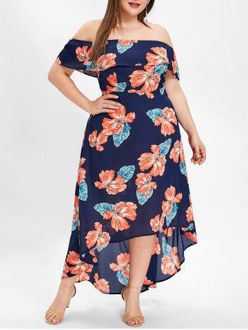 Plus Size Off The Shoulder Floral High Low Dress