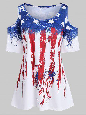 Plus Size American Flag Cold Shoulder T Shirt - WHITE - 4X