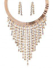 Rhinestoned Statement Necklace with Earrings -