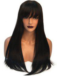 Long Neat Fringe Straight Capless Synthetic Wig -
