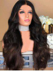 Long Center Parting Colormix Body Wave Party Synthetic Wig -