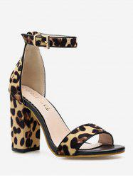 Leopard Chunky Heel Ankle Strap Sandals -