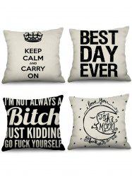 4 Pcs Letters Print Decorative Linen Pillowcases -