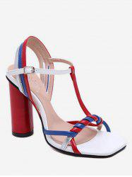 Color Block T Strap Chunky Heel Sandals -