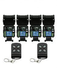 2 Pcs Wireless Remote Control and 4 Pcs Relay Receiver Module -