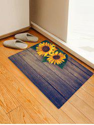Wooden Sunflower Pattern Printed Floor Mat -