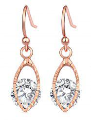 Oval Zircon Hollowed Dangle Earrings -
