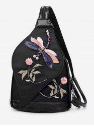 Floral Embroidered Nylon Backpack -
