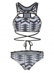 Geometry Cut Out Criss Cross Bikini Set -