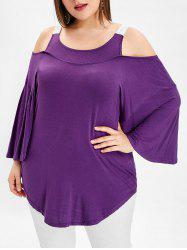 Plus Size Open Shoulder Scoop Neck T-shirt -