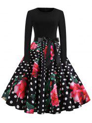 Vintage High Waist Polka Dot Flare Dress -