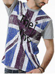Britain Flag Letters Print Short Sleeves T-shirt -